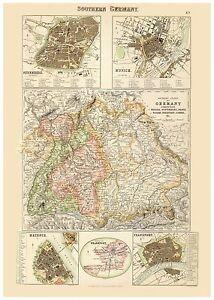 Nuremberg Map Of Germany.Details About Old Vintage Decorative Map Of Germany Munich Frankfurt Nuremberg Fullarton 1872