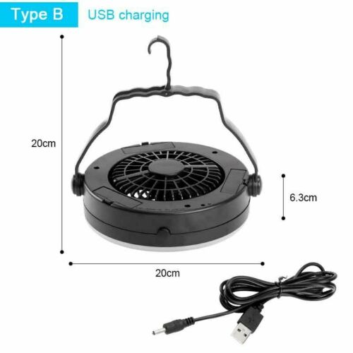2in1 Camping Tent Light With Fan Rechargeable 18 LED Portable Hanging Flashlight