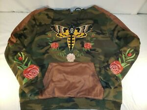 Hudson-Outerwear-Hoodie-Sweatshirt-Only-the-Strong-Embroidered-Camo-Mens-2XL