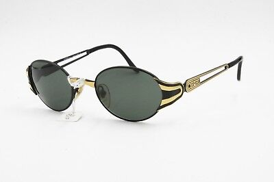 Sincero Le Club Actif Mod. 1305 50 Black & Gold Oval Vintage Sunglasses