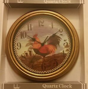 Kitchen Plastic Decor Wall Clock Chicken Rooster On The