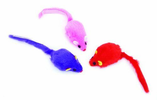 "COASTAL PET RASCALS 2/"" FUR MICE 3 PACK CAT TOY BLUE RED PINK. FREE SHIP TO USA"