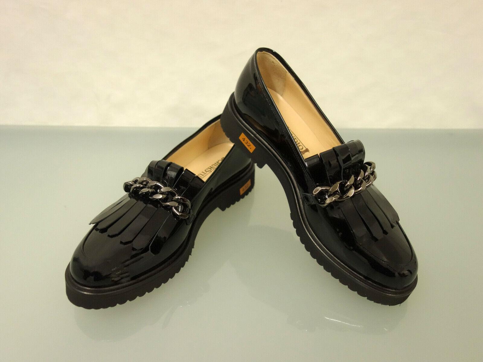 225 Neuf Chaussure Studio cuirs Pantoufles Taille 40,5 Chaussures Franges Chaîne Noir