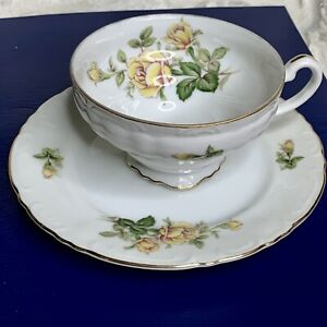 "Vintage ""YELLOW ROSE"" Bone China Gold Trim Tea Cup Saucer MADE IN JAPAN - 18001R"