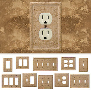 Tumbled Travertine Faux Textured Stone Noce Resin Switch Wall Plate