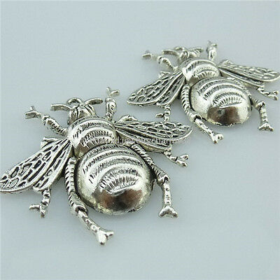 13964 7PCS Alloy Vintage Silver Large Bees Insect Pendant Charms Jewelry Making
