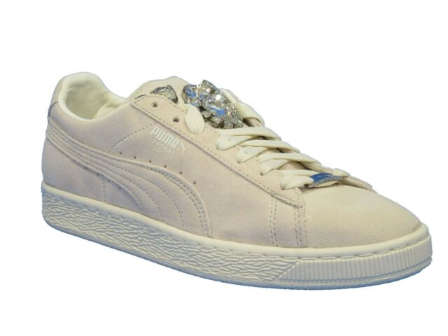 pretty nice f575b 4d94c Puma Women s Basket Jewels Suede Fashion Sneaker Whisper White