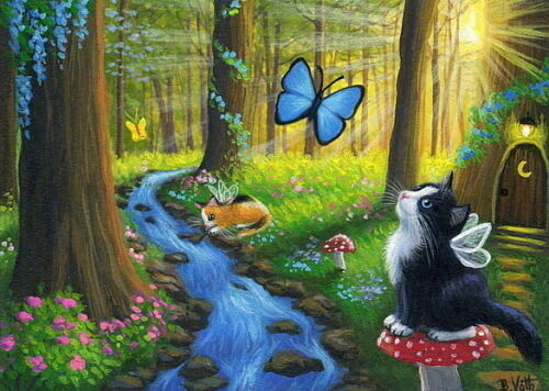 Tuxedo-kitten-cat-fairy-forest-butterfly-sunlight-fantasy-OE-aceo-print-art