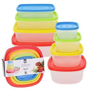 8 Pcs Stackable Nesting Food Storage Containers Coloured Lid Plastic