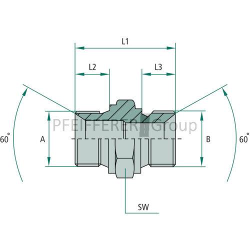 GRANIT BSP NPT Adapter Gerader Adapter AG-AG GA 3//8 M-BSP x M18 M-MET