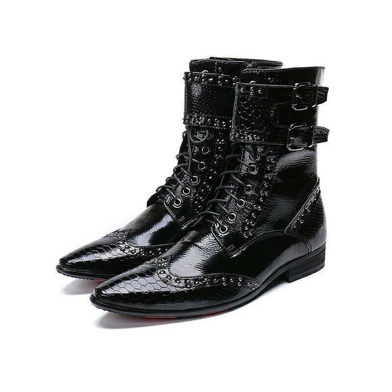 Men's Lace up Ankle Boots Buckle Strap Block Heels Punk Leather Gohtic shoes sz