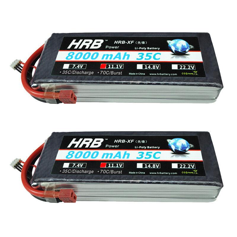 2pcs hrb 11.1v 8000mah 3s lipo batterie 35c-70c deans - drohne flugzeug hobby
