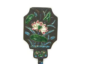 Antique-Chinese-Enamel-Hand-Mirror-Lotus-Flower-Design