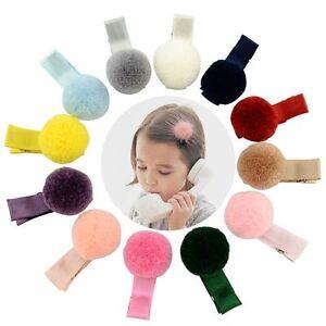 12-Pcs-Baby-Girl-Soft-Fur-Ball-Hair-Clip-Handmade-Barrettes-Head-Accessories-New