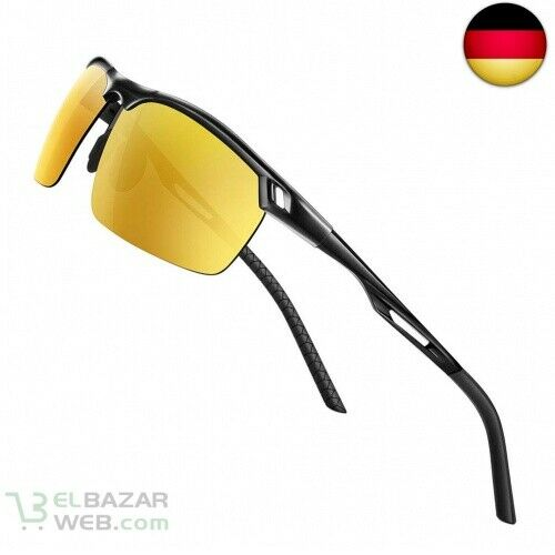 Glazata Sonnenbrille Herren Polarisierte UV400 Schutz Sportbrille Gelb