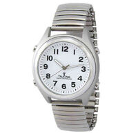Atomic Talking Watch Silver Tone W/ Shiny Band W/ Alarm / Time, Day, Date, Year