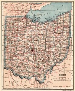 1921 Antique OHIO Map Vintage State Map of Ohio Gallery Wall Art ...