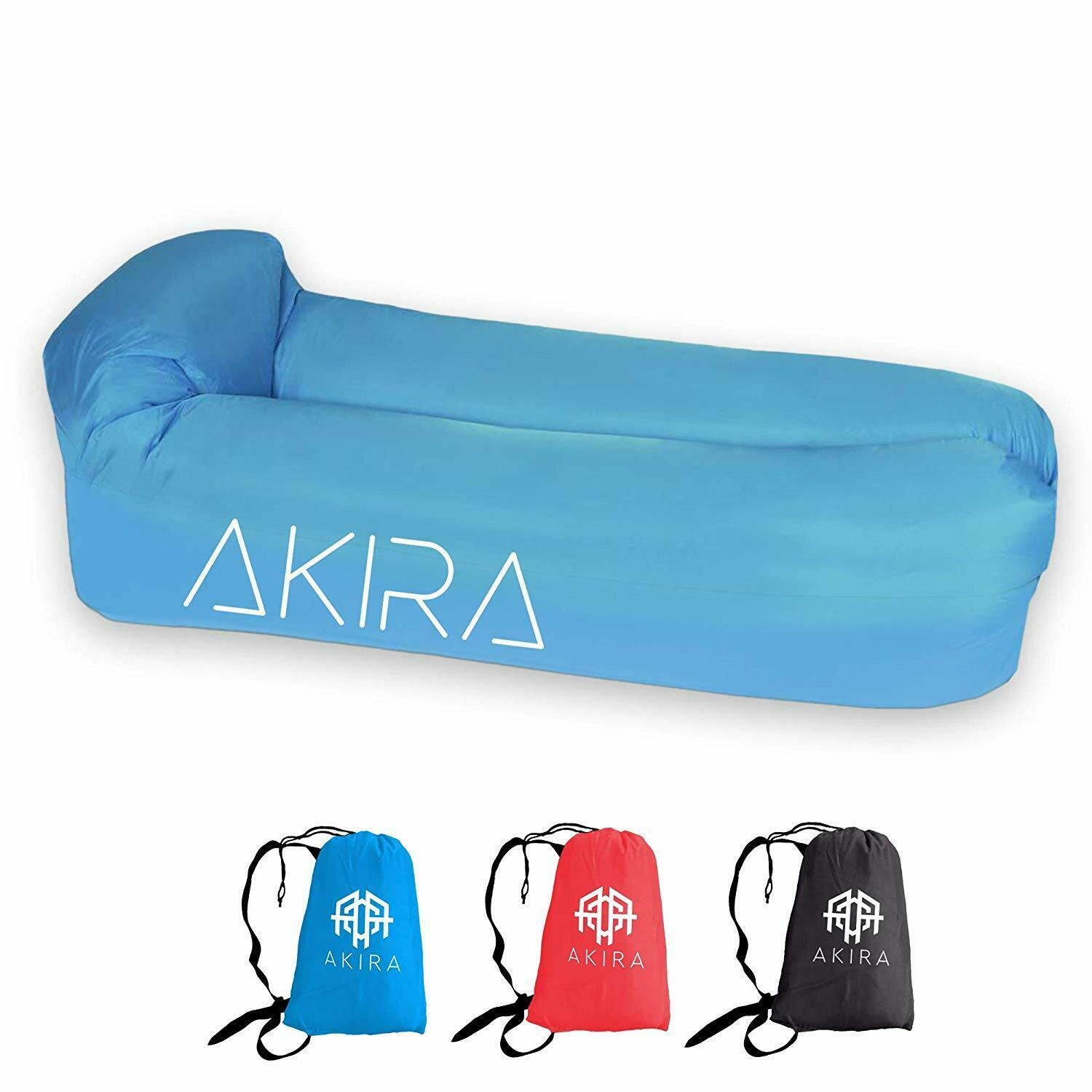Inflatable Waterproof Lounger with Bottle Opener & Anti-Air Leaking Design -bluee