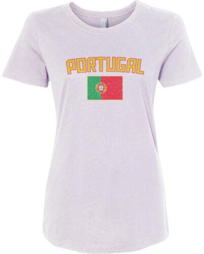 Threadrock Women/'s Portugal Flag T-shirt Portuguese Lisbon Soccer