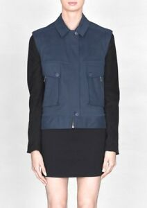 amp-Other-Stories-Sz-38-UK10-12-Cotton-And-Leather-Bomber-Jacket-Detachable-Sleeve