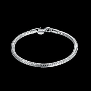 925-Silver-Snake-Chain-Bracelet-Link-Chain-3mm-Thick-Charm-Bracelets