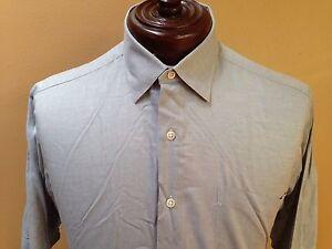 Robert-Talbott-Dress-Shirt-size-16-33-Blue-patterned-Cotton-made-in-USA