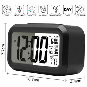 Battery-Operated-Black-Digital-Snooze-Alarm-Clock-LCD-Display-Backlight-Calender