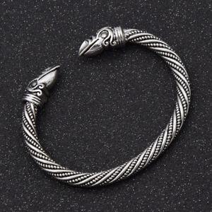 Men-Open-Bracelet-Bangle-Cuff-Viking-Norse-Wolf-Head-Unisex-Gothic-Wristband-DP