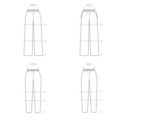 Mccalls patrones de corte m8057-pantalones con elástico federal
