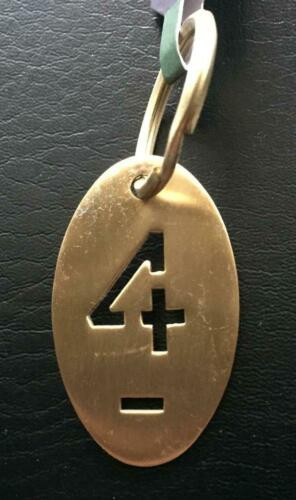 Approx Oval BRASS Stencil cut-out Key Chain Number Choice 0-9 2 inches