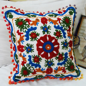 16-034-Cotton-Cushion-Cover-Wool-Embroidery-Handmade-Suzani-Bohemian-Decor-Pillow