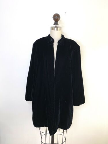 Vintage Antique Black Velvet Opera Coat 30s 40s Pi