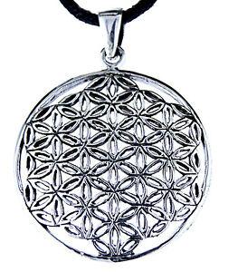 95-Blume-des-Lebens-Anhaenger-925-Silber-mit-Silberkette-Flower-of-Life-Harmonie