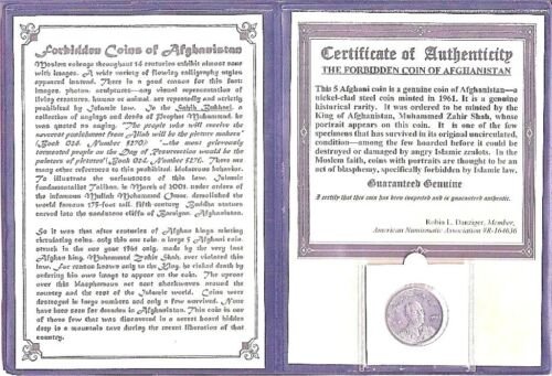 Forbidden Coin of Afghanistan,5 Afghani With Certificate,Story And Album,Unc