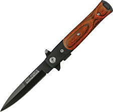 Wood Handle Black Blade MILANO Godfather Style Assisted Opening Pocket Knife