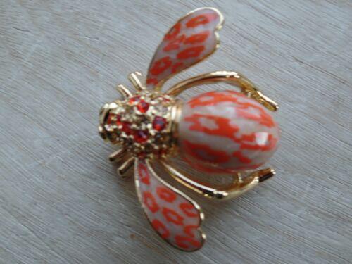 Joan Rivers Bee Tan And Orange Colored Epoxy Ename
