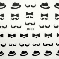 Black Moustache Water Transfer Nail Art Stickers Decals for nail tips decortaion