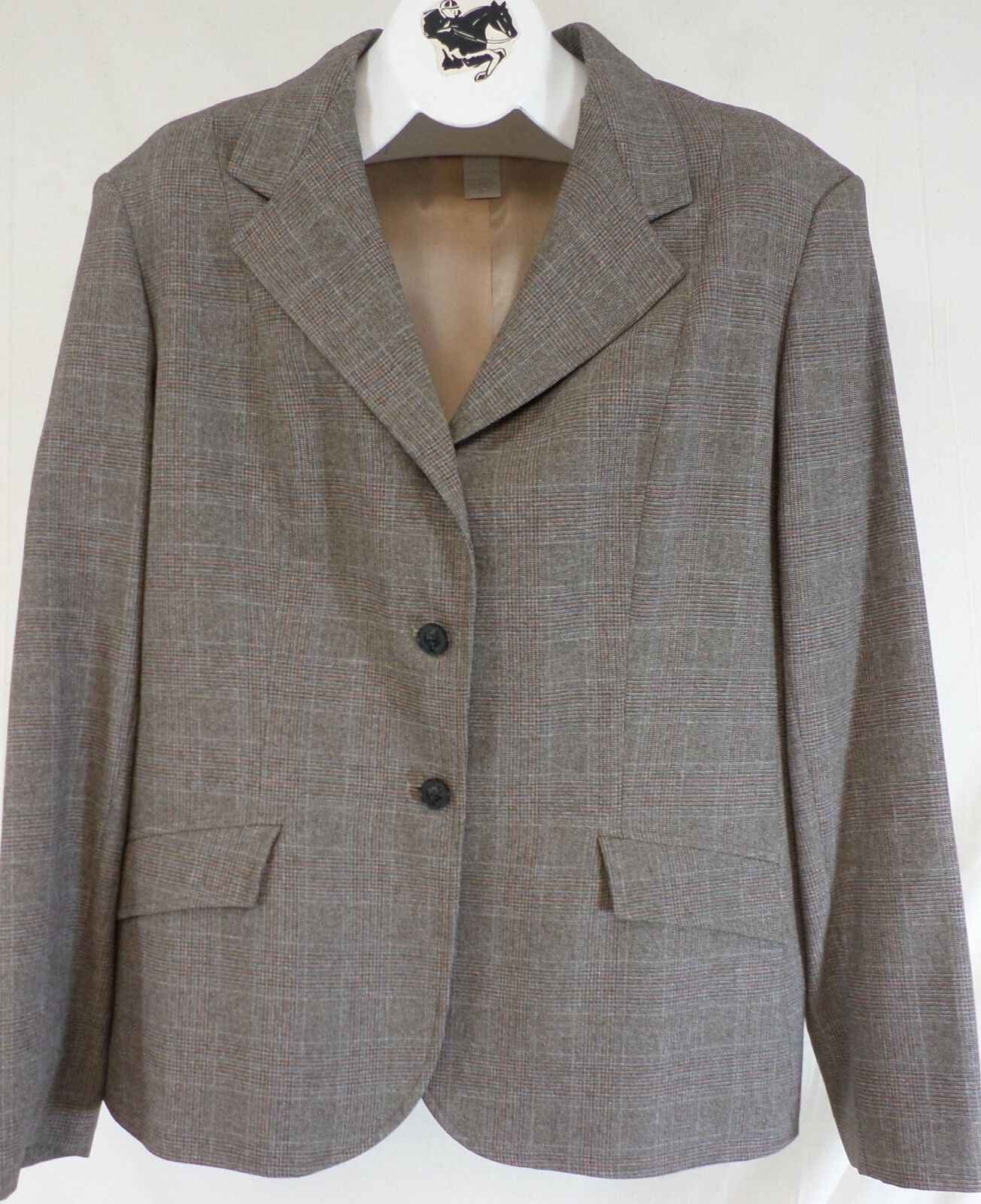 Reed Hill Double Vent Hunt Coat Ladies Brown Plaid Polyester 8 - Made in USA