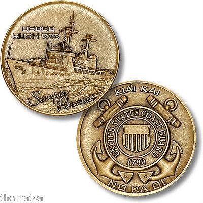 "USCG COAST GUARD USCGC RUSH WHEC-723 KAI KAI 1.75"" MILITARY CHALLENGE COIN"