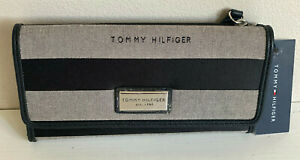 NEW-TOMMY-HILFIGER-BLACK-GRAY-CONTINENTAL-CHECKBOOK-CLUTCH-PURSE-WALLET-SALE