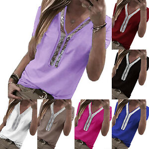 Plus-Size-Womens-Short-Sleeve-Casual-T-Shirt-Tops-Summer-Blouse-V-Neck-Tee-Shirt
