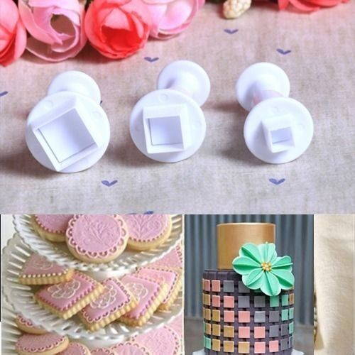 3x Mini SQUARE Plastic Icing Plunger Cutter Sugarcraft Cake Decoration Mould #Z