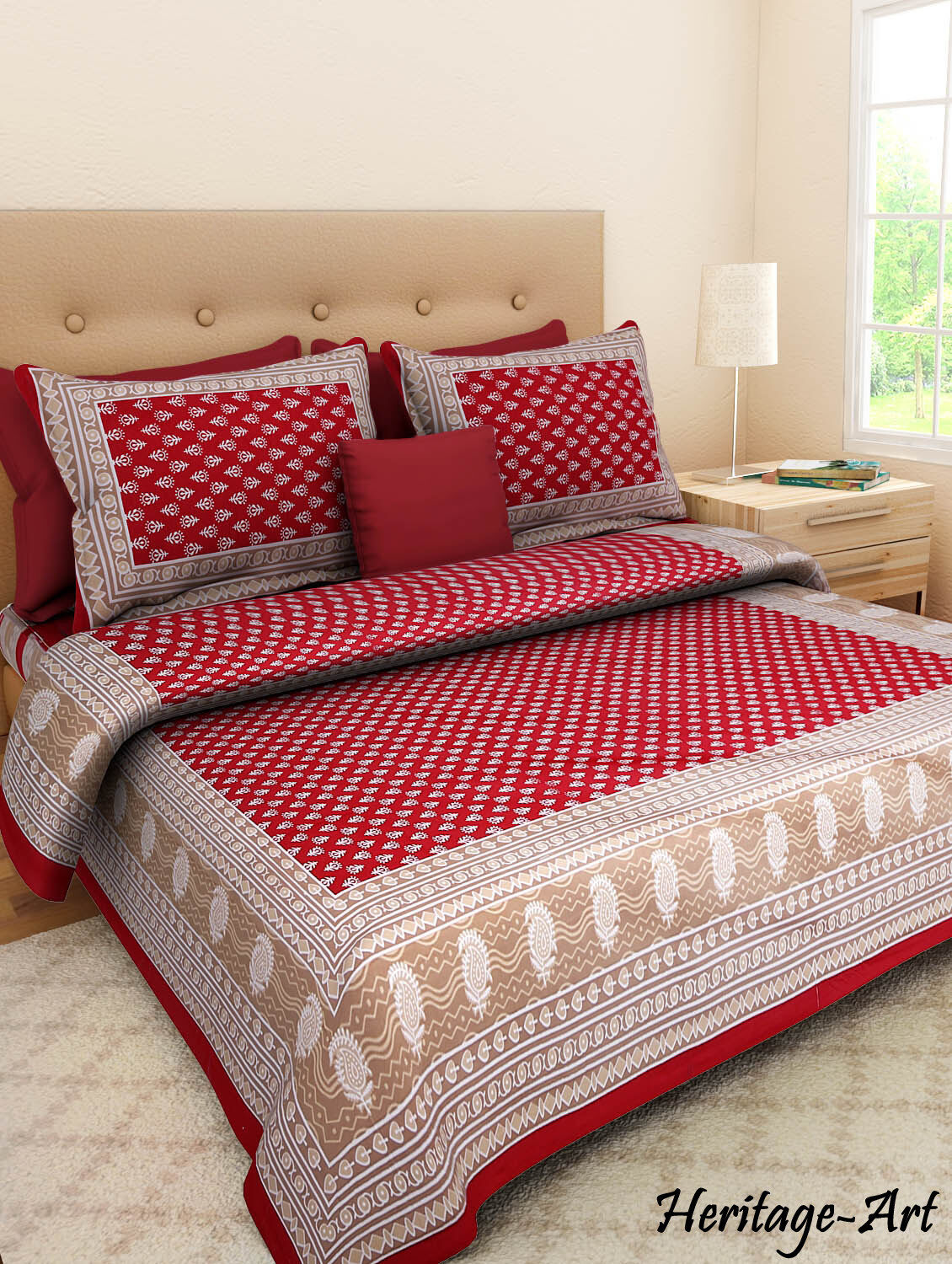 Rajasthani Handmade Latest Design New 100% Cotton Bed Sheet 2 Pillow Covers Set