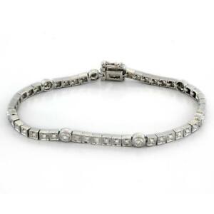 Estate-Diamond-Line-Station-Bracelet-18K-White-Gold-1-50-TW-Diamonds-Ladies-6-5-034