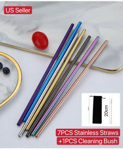 Long 10.5 Inch for 30oz 11Pack Reusable Stainless Steel Metal drinking Straws