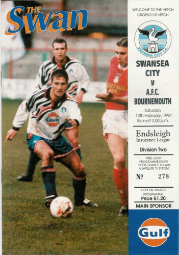 Swansea City v Bournemouth 12 Feb 1994 FOOTBALL PROGRAMME