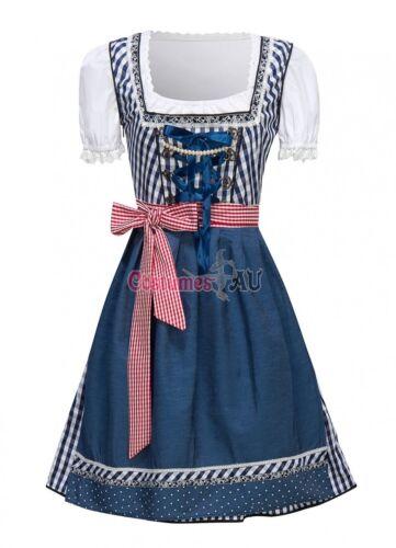Ladies Beer Maid Costume Blue Oktoberfest Wench German Heidi Womens Fancy Dress