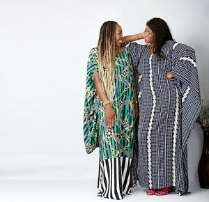 Full Length African Print Chiffon Bubu Dress - One Size Fits All - Blue