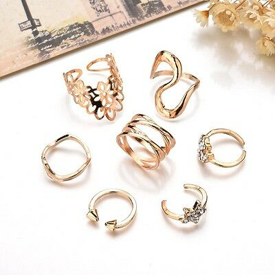 Bohemian Vintage Women Silver Gold Elephant Turquoise Finger Rings Punk Ring Set