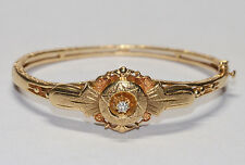 Victorian 14K Diamond Bangle 1800s Antique Solid Yellow Gold Bracelet Etruscan